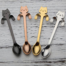 Cute Cat Teaspoons Stainless Steel Cartoon Cat spoons Creative Ice Cream Dessert Long Handle Coffee&Tea Spoon Tableware Colors(China)