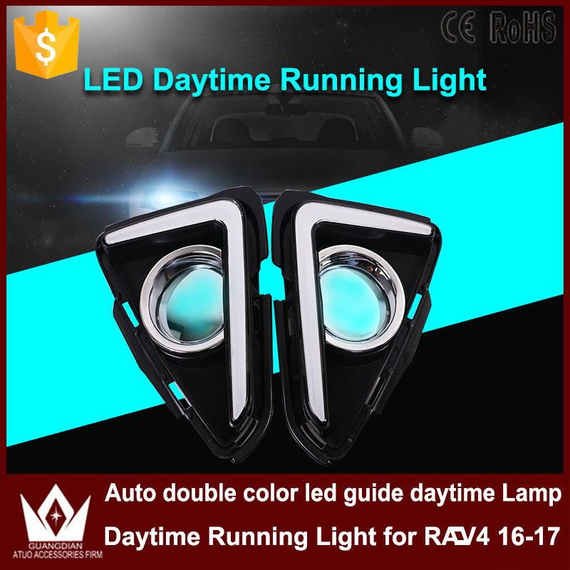 New Car Accessories DRL LED Daytime Running Light Auto double Color LED Guide Fog Lamp Daylight For Toyota RAV4 RAV 4 2016 2017 car styling daytime running light auto fog lamp for b mw e90 3 series led daylight drl