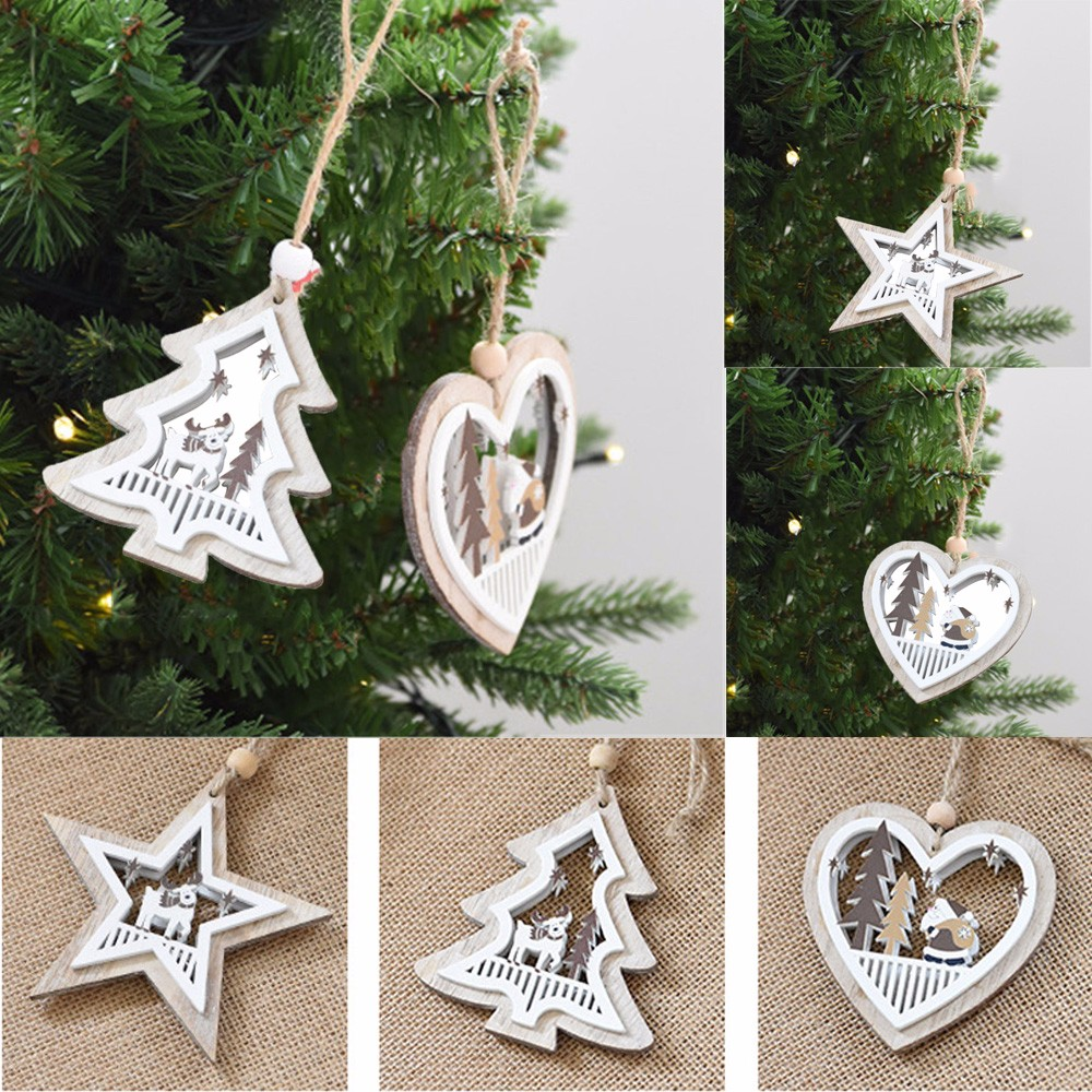 Christmas Decoration Wooden Xmas Tree Hanging Pendant Ornament Embellishment Party Decoration Home Shop Store Decor F1019
