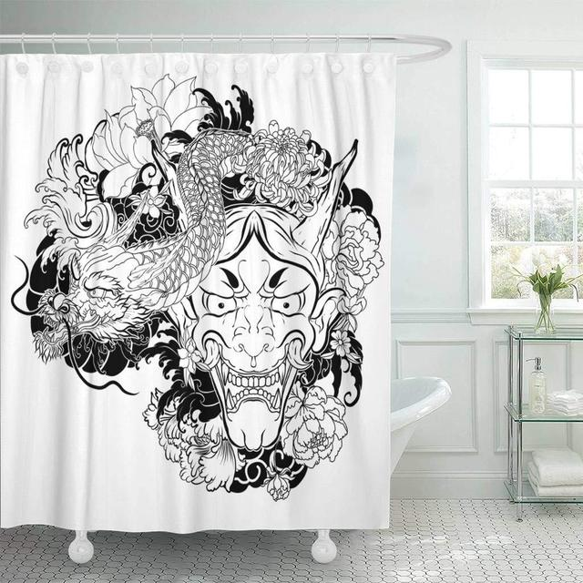 Fabric Shower Curtain Japanese Demon Mask With Lotus Chrysanthemum Jpg 640x640 Tattoo Aliexpress Bathroom French