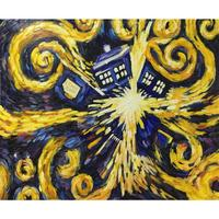 Hand painted wall art abstract oil paintings Doctor Who Exploding Tardis Blue Box beautiful colors modern artwork for home decor