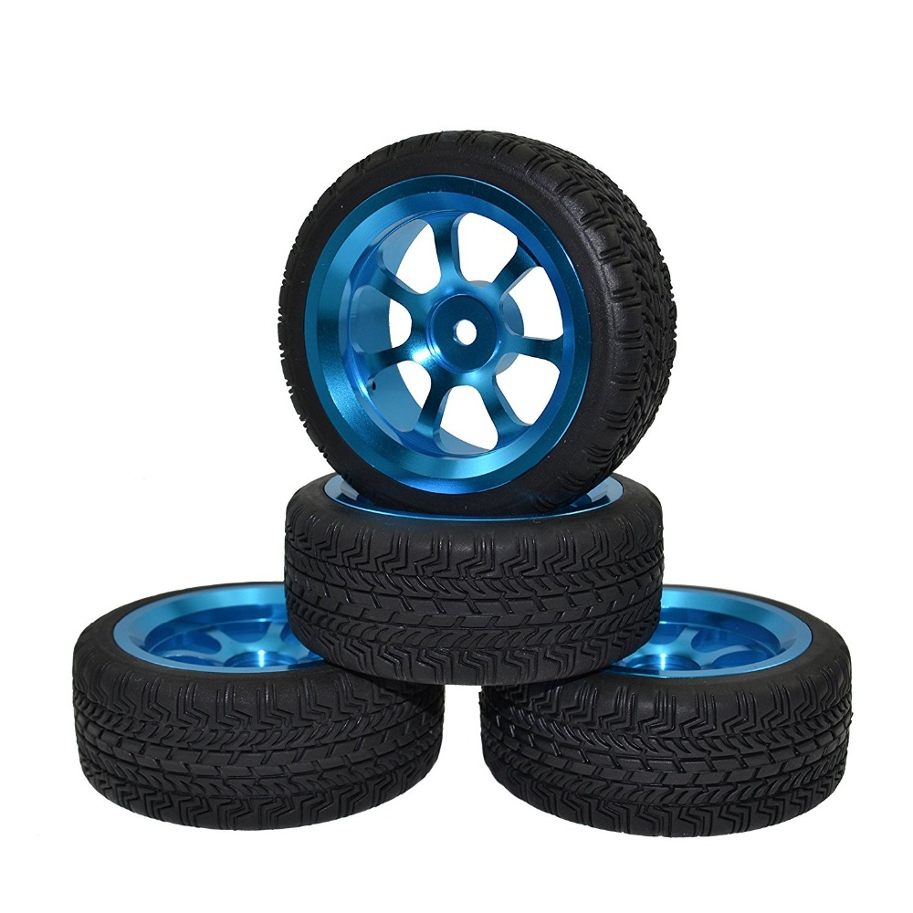 RC 4PCS 1/10 Aluminum Alloy Rally Rubber Tires & Wheel Rim for HPI HSP On Road Racing Car 4pcs 1 9 inch rubber tires