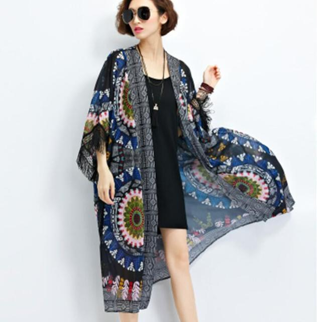 2cf79645c06 maxi cardigan chiffon smock loose style long floral print dress lady  fashion overall modest wear women cloth free ship