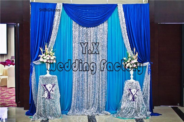 Rideau en toile de fond de couleur Turquoise 3 M * 3 M avec drapé bleu Royal et argent livraison gratuite