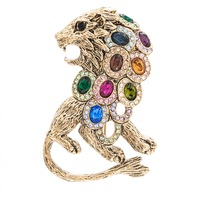 High Quality Really Austrian Rhinestone Crystals Lion Brooch Pins Broach Women Jewelry Accessories SB4407 Clearance Sale
