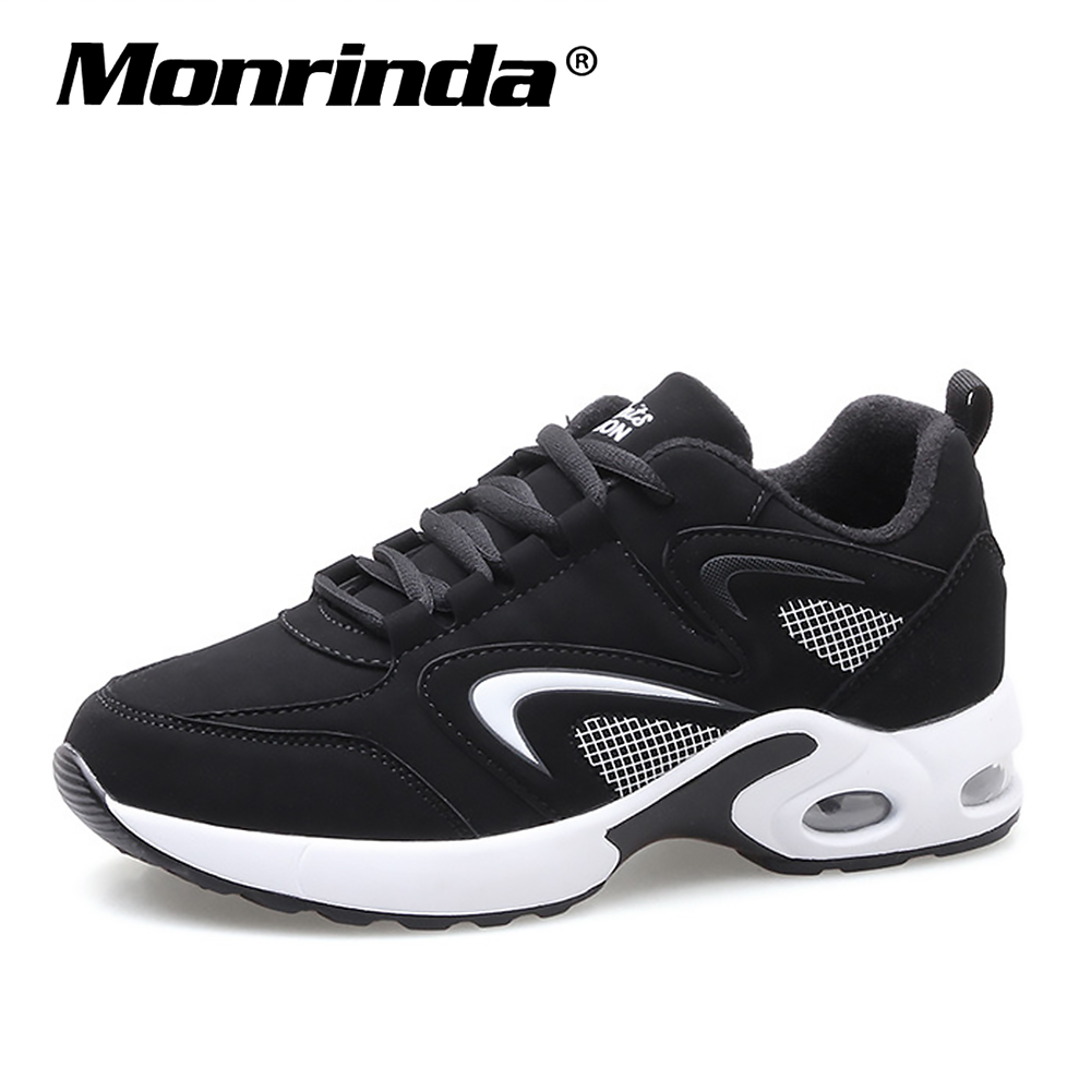 Sneakers Women Running Shoes Cushion Sport Gym Shoes Woman Stylish Leather Comfortable Sole Outdoor Walking Black Sneaker Mujer sneakers