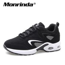 Купить с кэшбэком Sneakers Women Running Shoes Cushion Sport Gym Shoes Woman Stylish Leather Comfortable Sole Outdoor Walking Black Sneaker Mujer