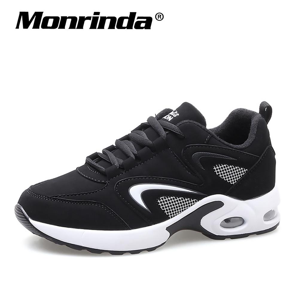 4fa5ce2f52d34f Tanie Trampki damskie buty do biegania poduszki sportowe buty sportowe  kobieta stylowe skórzane wygodne podeszwy do chodzenia na zewnątrz czarny  Sneaker ...