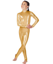 Icostumes Kids Long Sleeve Metallic Unitards Stirrups Girls Dance Gymnastics Sparkle Bodysuit shiny kids catsuit