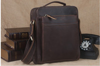 Vertical Real Genuine Leather Bags Tote Organizer Bag For Men Crazy Horse Leather Cross Body Messenger Bag Vintage Wild Style