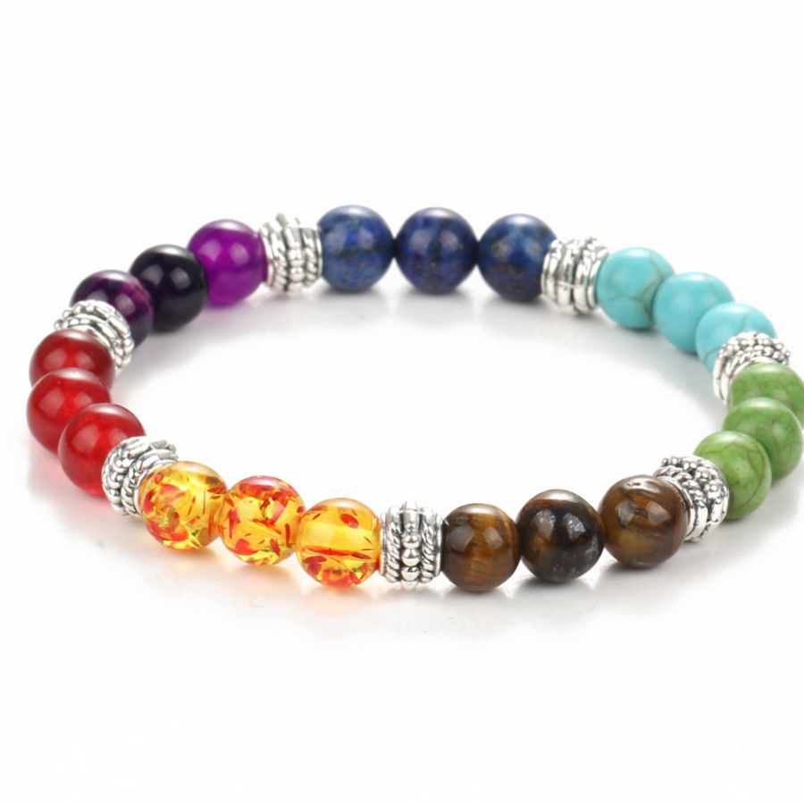 Host sale 7 colored Volcanic stone frosted Energy beads of the female Alloy Spacing beads Bracelet for women