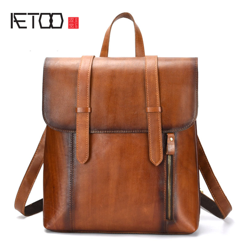 AETOO Leather cowhide retro hand-brushed shoulder bag men's vegetable tanned layer leather travel large capacity backpack aetoo leather men bag new retro first layer of leather handbag large capacity vegetable tanned leather shoulder bag
