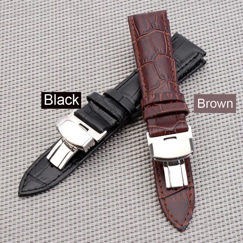 BUMVOR nouveau 18-24mm femmes hommes bracelet de montre sangle papillon motif déployant fermoir boucle + bracelet de montre en cuir Mira La Banda