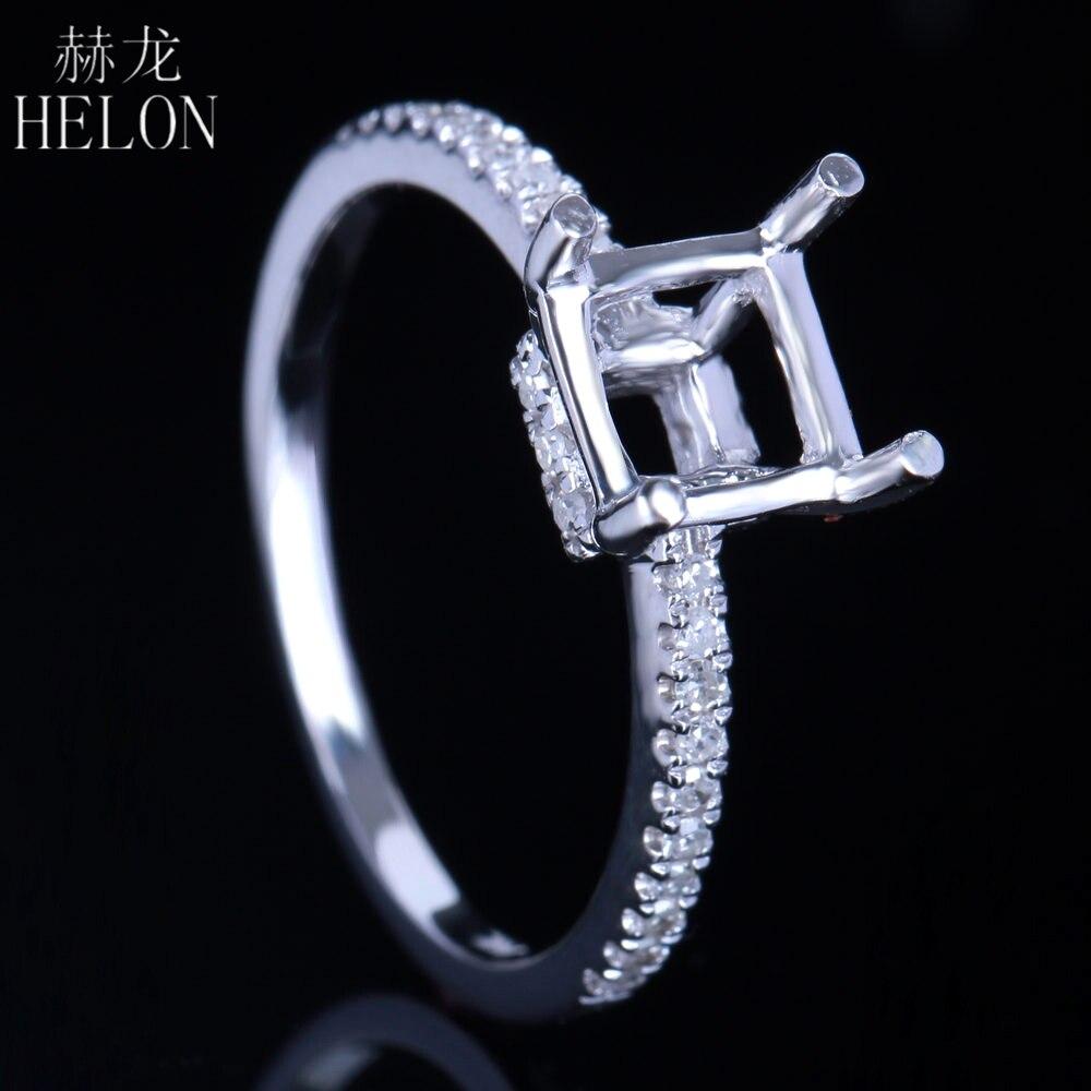 HELON x6mm-7.5x7.5mm Cushion Cut Semi-Mount Solid 14K White Gold Engagement Wedding Natural Diamonds Ring Women Fine Jewelry