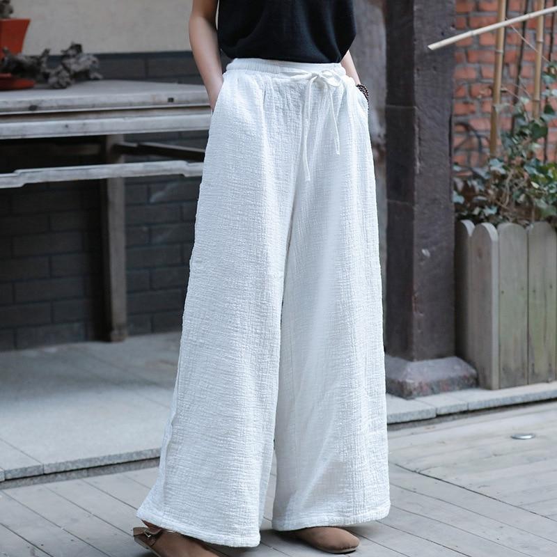 New Style Casual Trouser Cotton Linen Drawstring Long Length Women Pants Spring Loose Vintage Wide Leg Pants