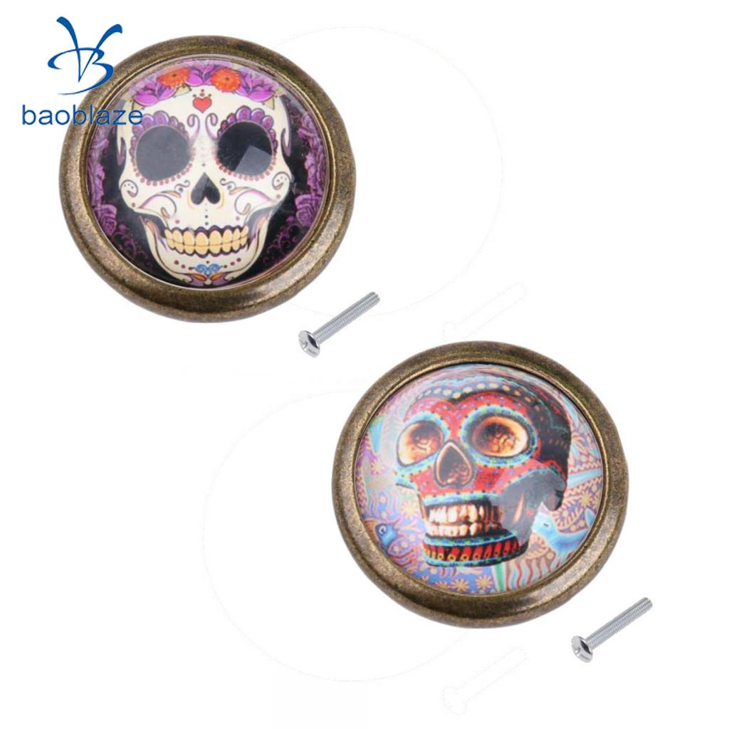 2pcs Vintage Zinc Alloy Round Cabinet Door Handle Pulls Knob Kitchen Furniture Hardware with Screws Skull Prints #4 2pcs set stainless steel 90 degree self closing cabinet closet door hinges home roomfurniture hardware accessories supply