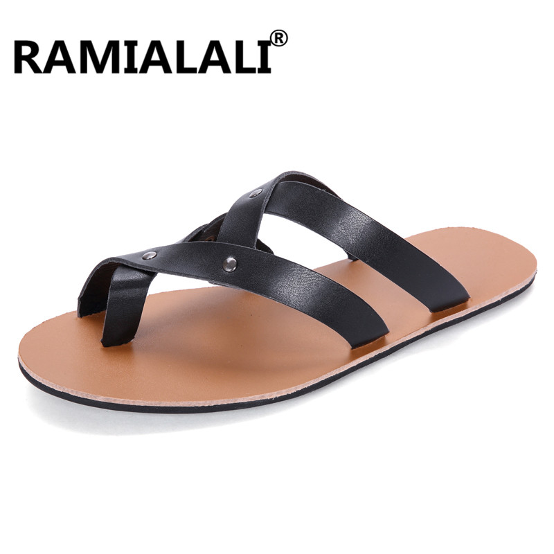 36eb00c6c942e Ramialali 2018 Men Slippers Summer Slides Breathable Man Shoes Fashion Flat  Sandals Male Flip Flops Casual Footwear