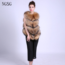 Fur Women Coat Real fur coat For Lady Racoon Dog Material 65 cm Length Sleeveless Pattern Solid Type 2017 New Spring ER4020-1
