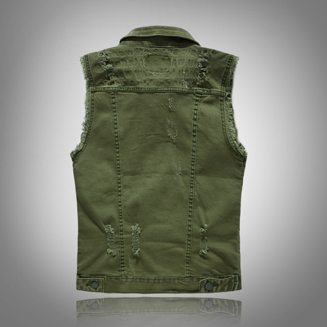 Sokotoo Men's army green slim denim vest Slim fit stretch denim waistcoat Fringe sleeveless holes ripped tank top