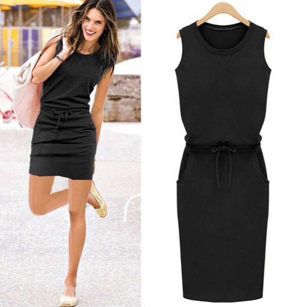2018 Summer Women Dress Fashion Solid Cotton Slim Fit Pockets Pencil Dresses Work Sleeveless Sexy Casual Dress Robe Femme 2XL