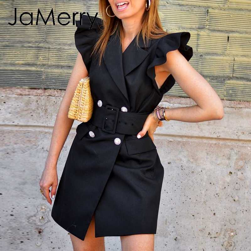 JaMerry Vintage autumn women office blazer dress Ruffle sleeve slim belted double breasted dress Black party bodycon dress suits