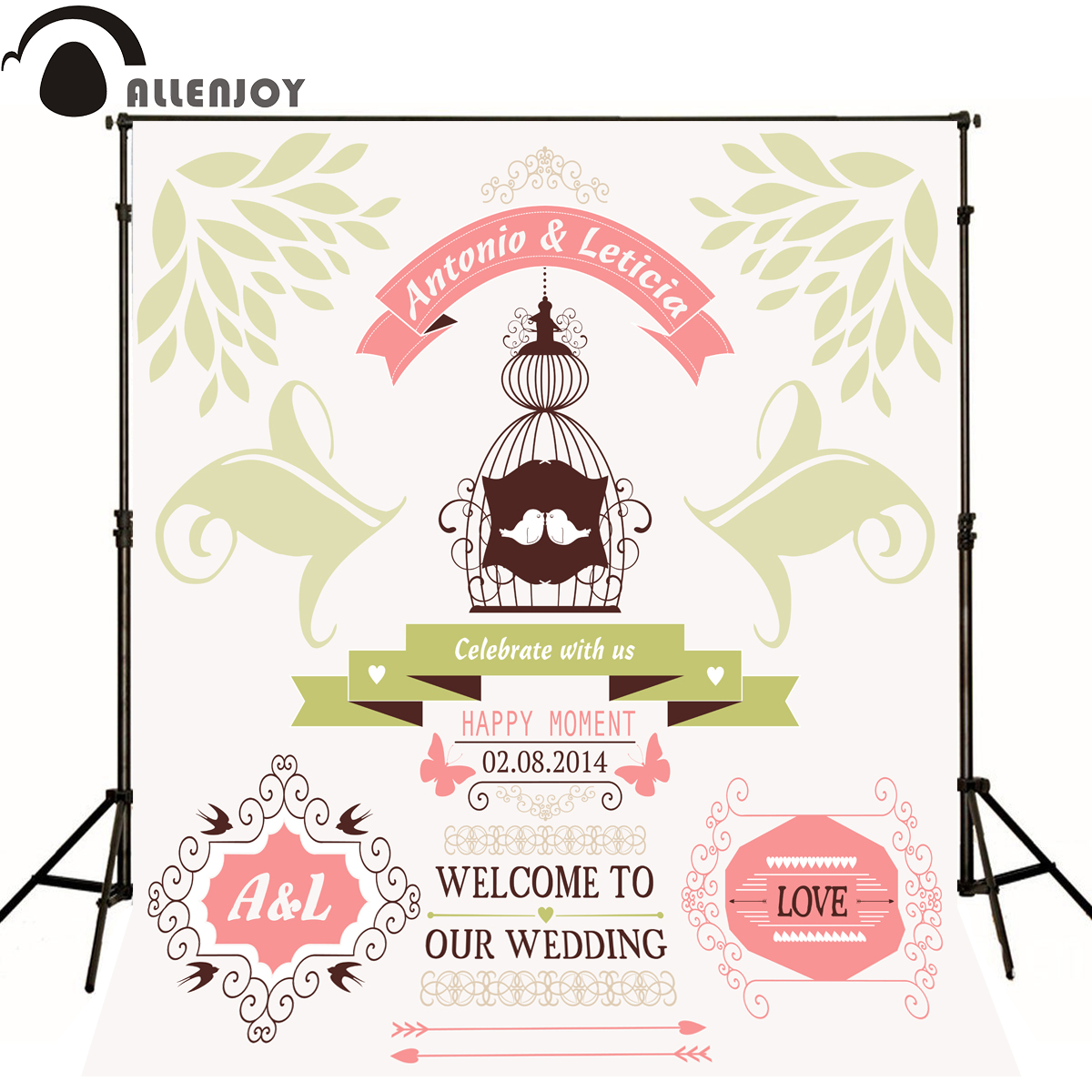 Allenjoy Photographic background Love Birdcage Butterfly Romance original design wedding custom vinyl backdrops for photography