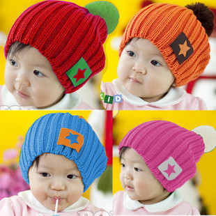 Fashion candy-color baby winter knitted hat five-star children's hats wool hat baby kids caps,4 colors 75g,Free Shipping!