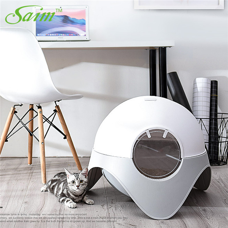 Saim Creative Closed Cat Litter Plastic Litter Box Cat Toilet Deodorization Space Capsule Pet Cat Litter Box With Tool Big Size