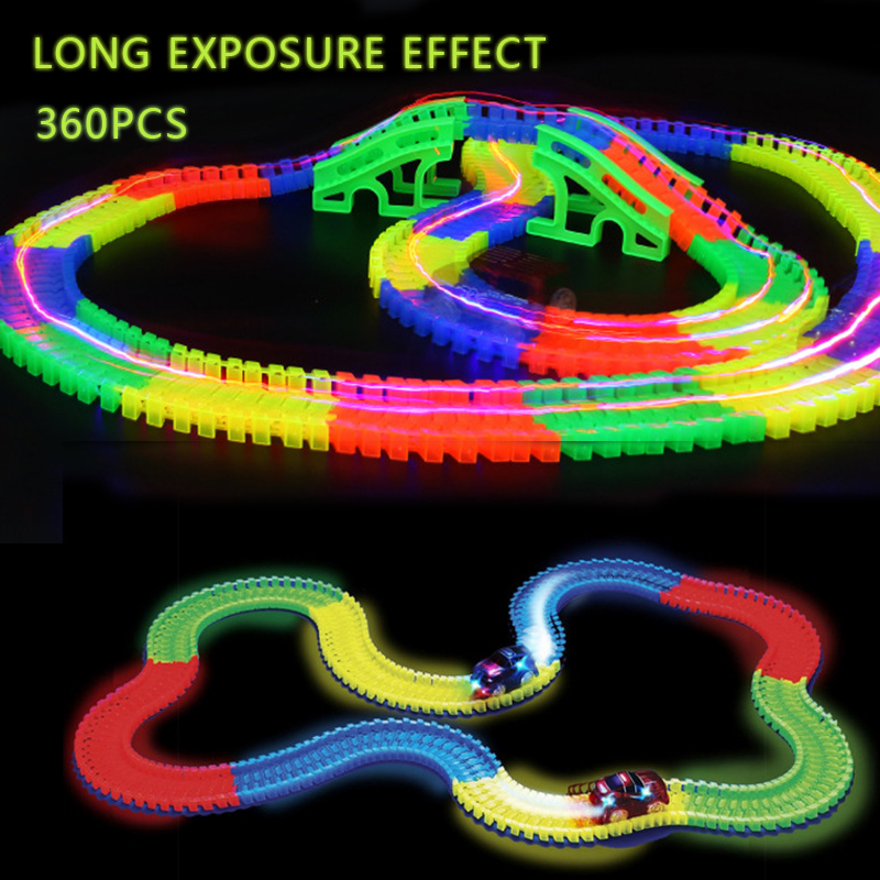 360pcs Glowing Race Car Twister Track DIY LED Flashing Light Tracking Glow in the Dark magic Railway Cars Kids toy car no box