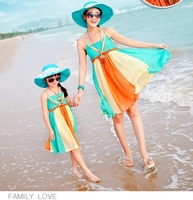 2015 Sand Beach Bohemain Dresses Mother And Daughter Clothes Matching Family Clothing Sets Family Look 052jy