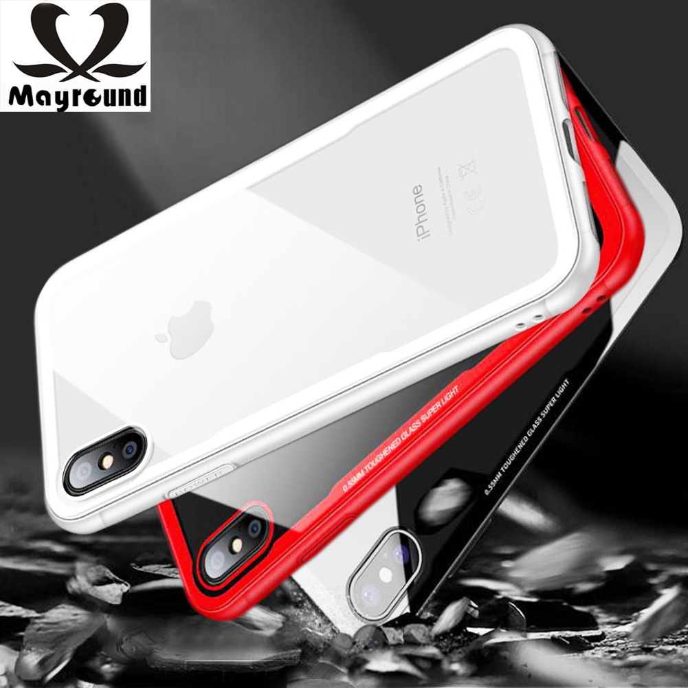 Mayround For iPhone 8 Plus X Ten 10 Case Hybrid Clear Shockproof 9H Tempered Glass Cover Armor Case Defendor Covers Coque