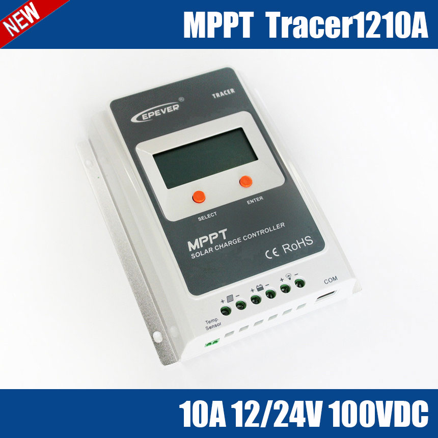 Tracer1210A MPPT 10A 100V solar charge controller LCD display design for home system, outdoor lighting, signals, micro inverters on grid tie with mppt function 600w home solar system dc22 50v input to ac output for countries standard use
