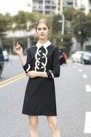 Autumn Winter Women Clothes Constrasting White Fringe Short Dress Runway Collection Designer Black Vintage Party Dresses