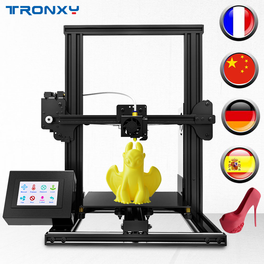 Tronxy New XY-2 3D printer Large Print Size FDM i3 printer V-slot Touch Screen Continuation Print Hotbed 1.75mm PLA