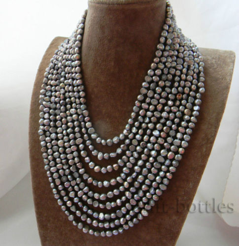 9Strands 6MM Gray Baroque Freshwater Pearl Necklace цена и фото