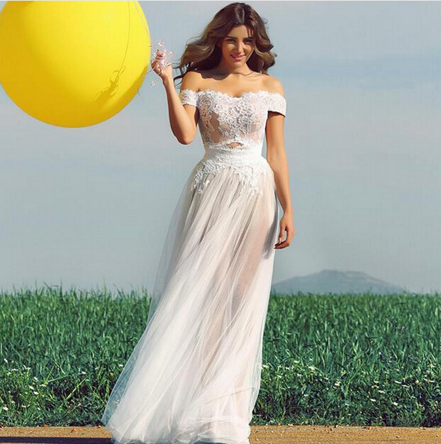 2016 Simple Beach Long Wedding Dresses Short Sleeve Sweetheart Y Lace Liques See Through Garden Bridal Gown Vestidos De In From