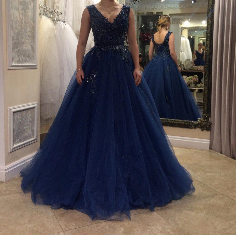 Simple Elegant A-line   Prom     Dresses   Long Sleeveless Tulle Lace Evening Women Party Gown 2019