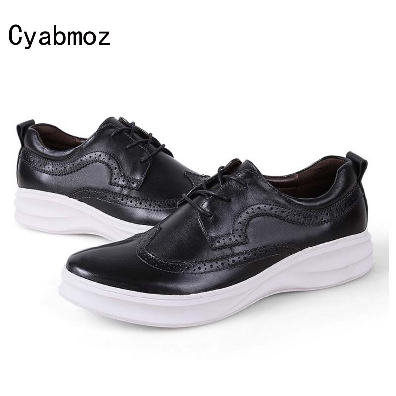 Cyabmoz New High Quality Genuine Leather Men Brogues Shoes Lace-up Bullock Carved Thick Sole Platform Shoes Male Casual Shoes relikey brand men dress shoes handmade genuine cow leather top quality brogue shoes lace up new big size bullock style shoes men