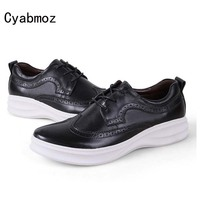 Cyabmoz New High Quality Genuine Leather Men Brogues Shoes Lace Up Bullock Carved Thick Sole Platform