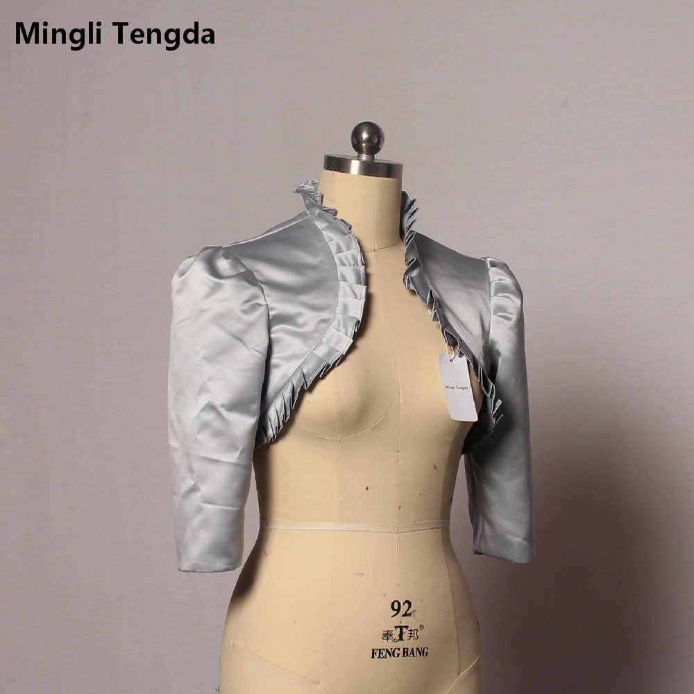 Mingli tengda 실버 얼룩 웨딩 재킷 신부 볼레로 womem 코트 케이프 어깨 걸이 스톨 주름 주름 3/4 슬리브 실제 그림