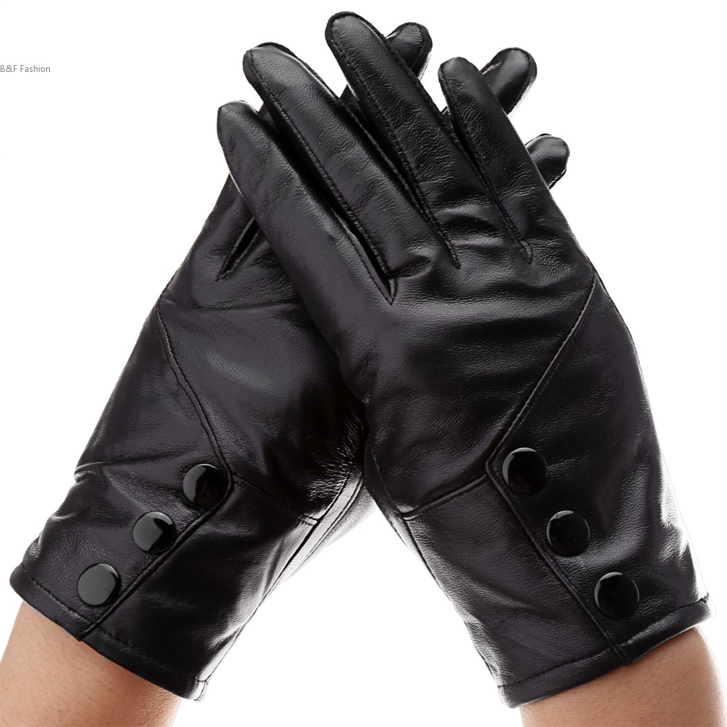 Kid leather driving gloves - New Fashion Elegant Driving Glove Lady Women Synthetic Leather Warm Mittens Gloves China Mainland
