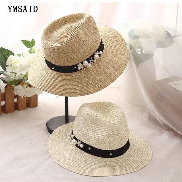 Earl estereoscópica perla verano costura color playa paja sombreros de sun  para las mujeres verano estilo f87667affad