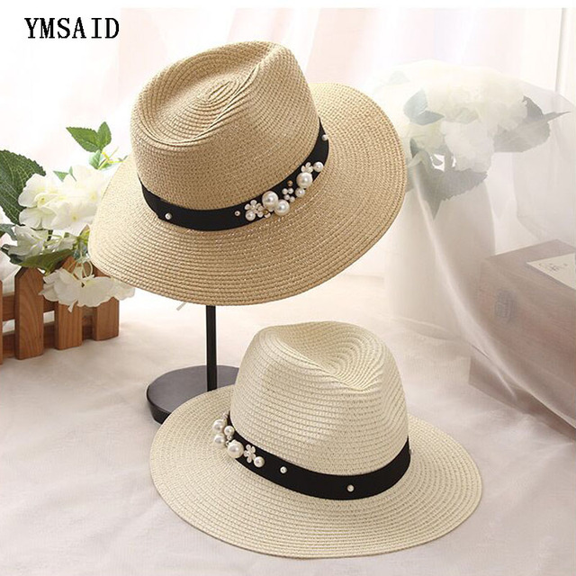 01cf95311e9fe Earl stereoscopic Pearl summer hat Stitching color Beach holiday straw sun  hats for women summer style hat 2017