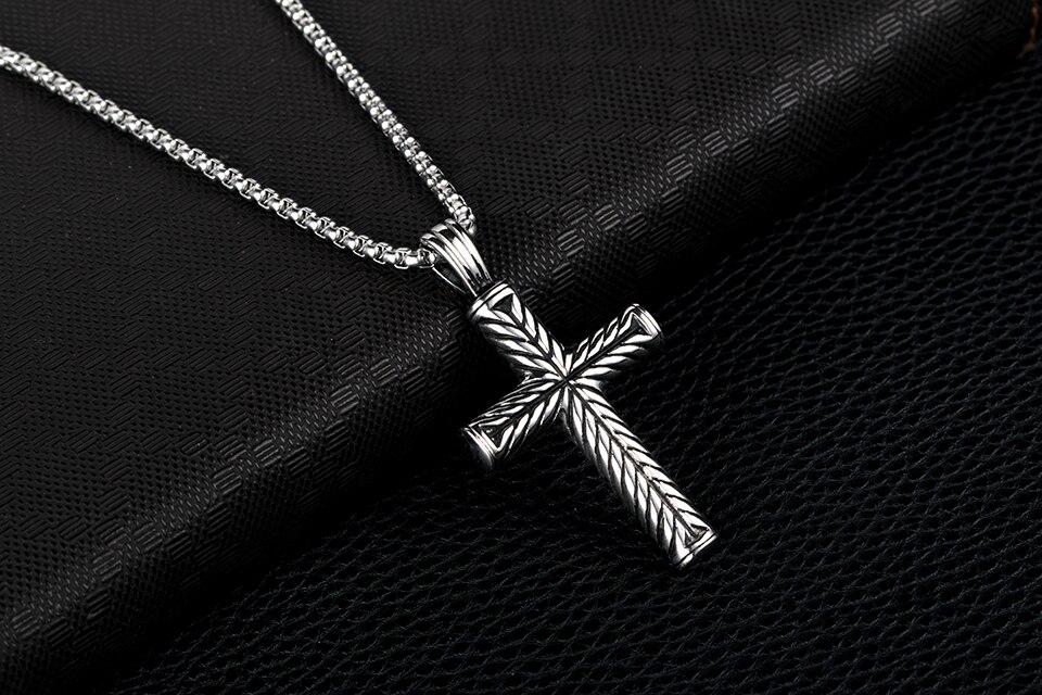 53dda272ec01 Wholesale ZFVB Vintage Mens Cross Pendant   Necklace High Quality ...