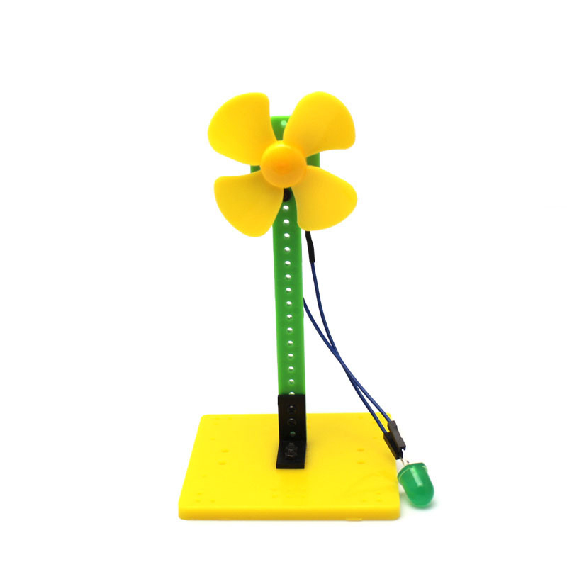 Mini Wind Power Green LED Blowing Generator Windmill Toy Kit 7.5*7.5*14cm For Science Education Experiment Demo Generator Model