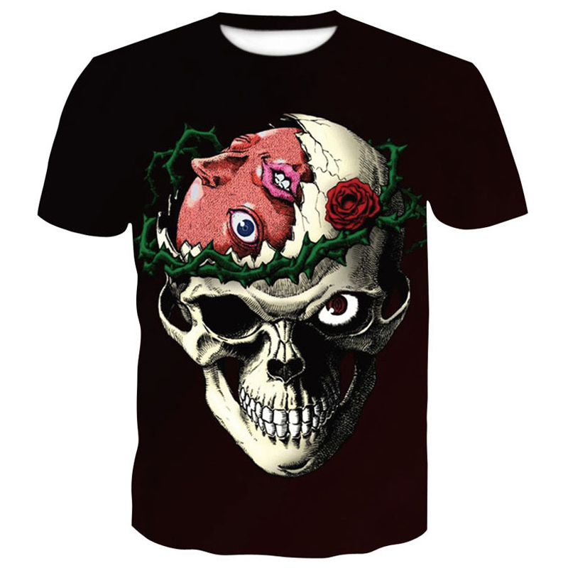 mens t shirts fashion 2018 New Skull 3D print funny Short sleeve tshirt men and woman Polyester brand clothing china printed top in T Shirts from Men 39 s Clothing