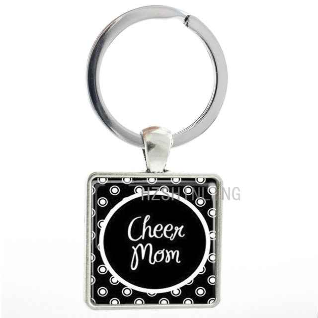 ... 223b1 d044e Class fashion women jewelry Cheer Mom keychain vintage  square key chain ring holder mother ... c4e1d83bc