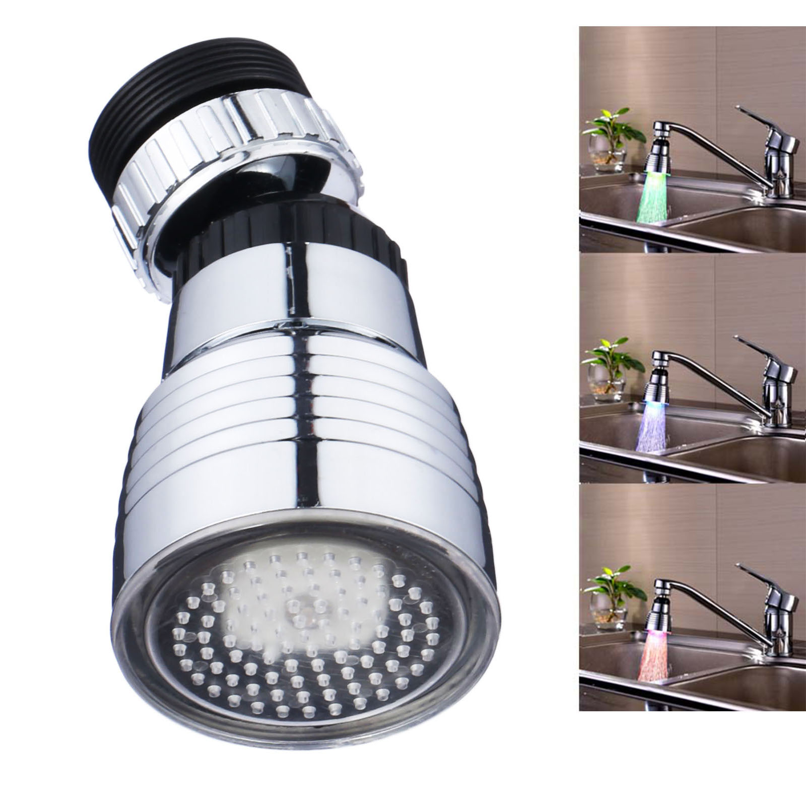 360 Degree Rotation Color Automatical Shower Hydroelectric Power Temperature Sensor Light Water Tap Glow LED Faucet For Kitchen