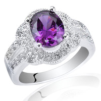 Ladies 925 Sterling Silver Ring 2.2ct Oval Simulated Gemstone Crystal Jewelry Support Customization R025 size 6 7 8 9