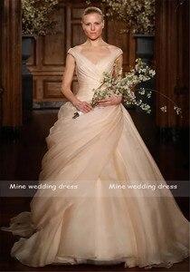 Image 2 - Allık pembe Pick Up balo elbisesi uzun V boyun yan dökümlü prenses gelin gelinlikler Vestido De Novia